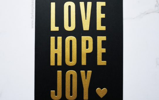love hope joy heart black gold card