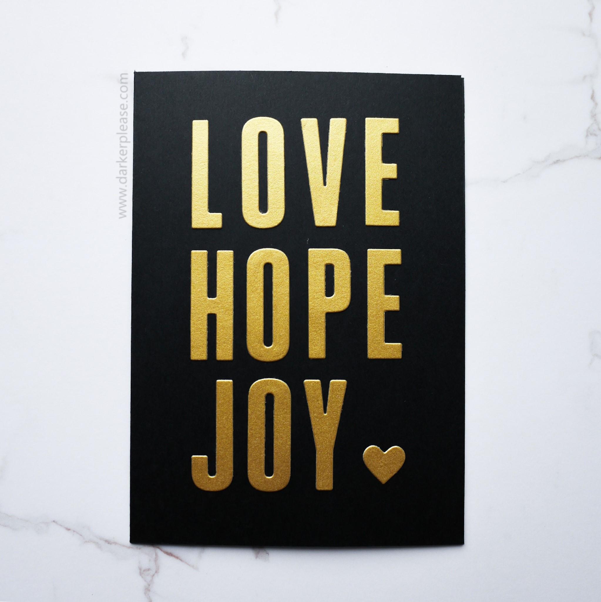 love hope joy heart black gold card