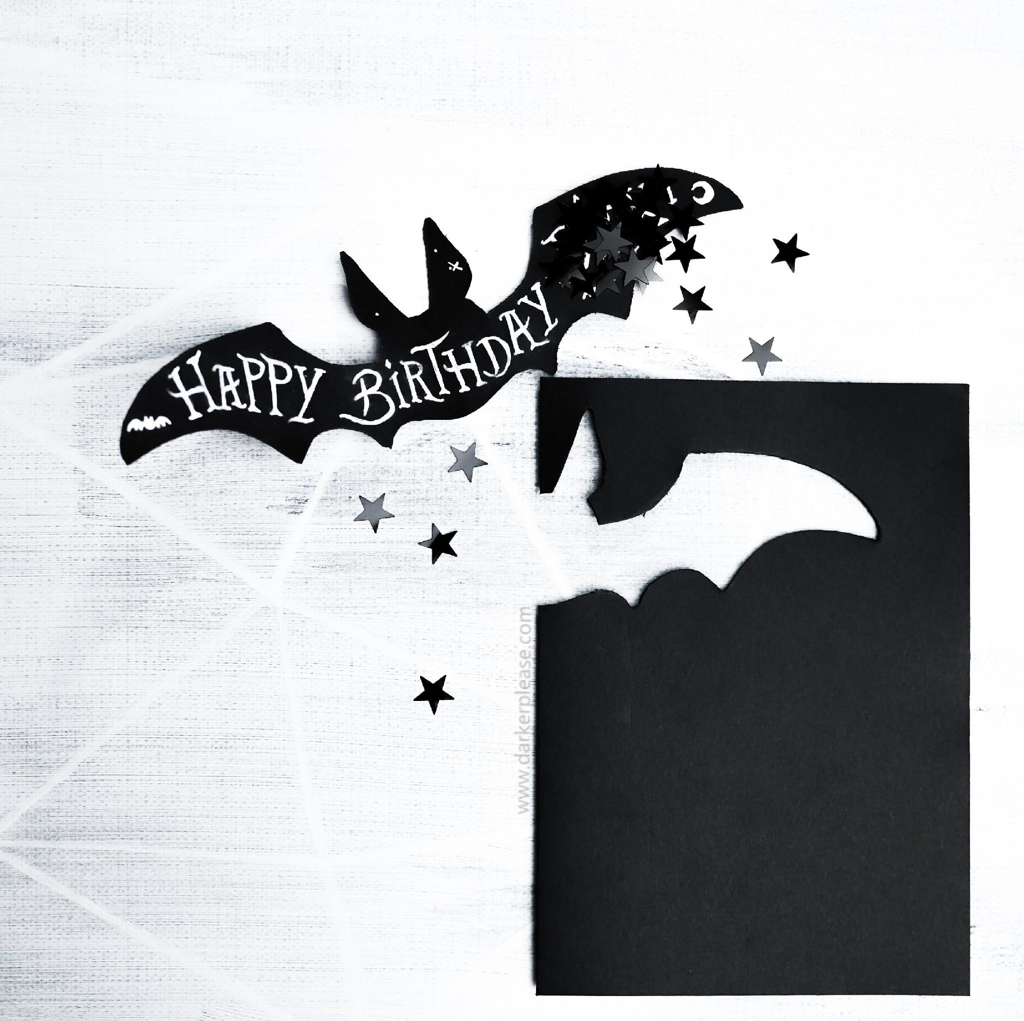Goth archives darker please handlettered birthday bat card bookmarktalkfo Gallery